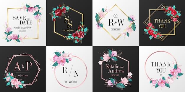 Collezione logo monogramma matrimonio. cornice floreale dell'acquerello per il disegno della carta di invito.
