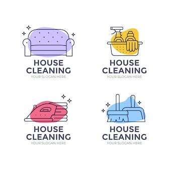 Collezione logo pulizia creativa