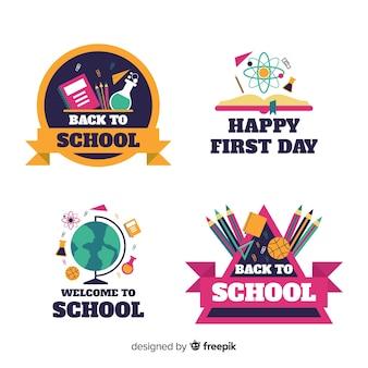 Collezione logo scuola design piatto