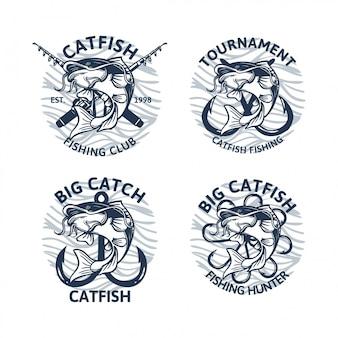 Collezione logo vintage pesce gatto