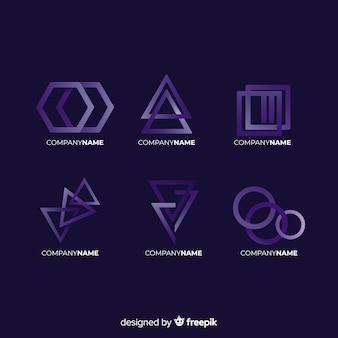 Collezione logotipo tecnologico geometrico gradiente