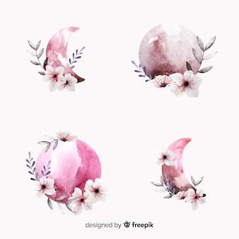 Collezione luna dell'acquerello nei toni del rosa