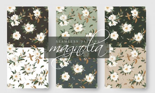 Collezione magnolia seamless pattern