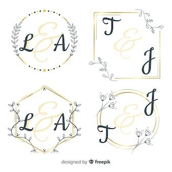 Collezione modello logo monogramma di nozze