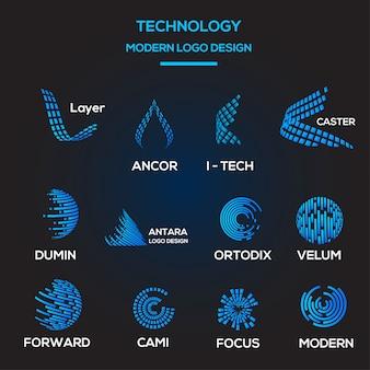 Collezione modello logo tecnologico