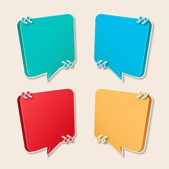 Collezione moderna di bolle di discorso per citazioni
