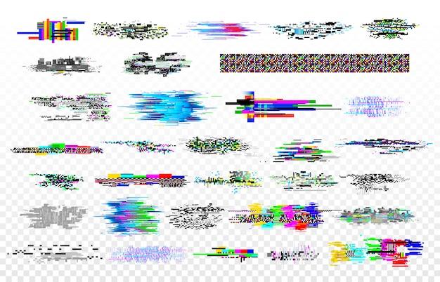 Collezione moderna di glitch. anomalie del rumore della tv, monitoraggio del decadimento del segnale e errore dello schermo. insieme di vettore di struttura dei segnali glitched dati digitali