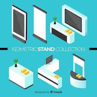 Collezione moderna di stand con vista isometrica