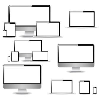 Collezione monitor di computer realistico, laptop, tablet e telefono cellulare
