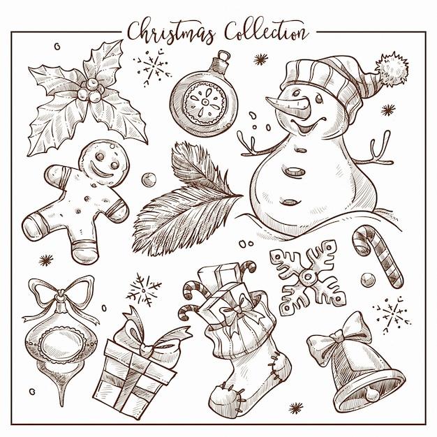 Collezione natalizia di elementi simbolici tradizionali contorno monocromatico schizzo.