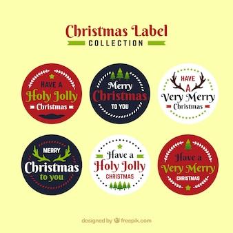 Collezione natalizia di sei etichette rotonde
