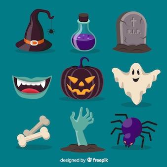 Collezione originale di elementi di halloween con design piatto