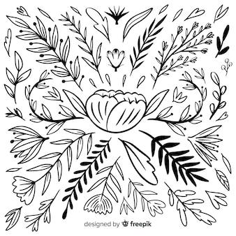 Collezione ornamentale disegnata a mano artistica