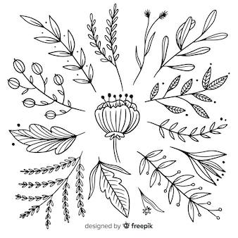 Collezione ornamentale disegnata a mano monocromatica