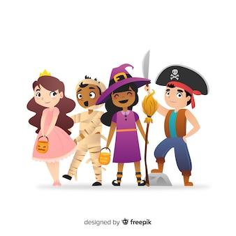 Collezione per adulti giovane disegnata a mano di halloween