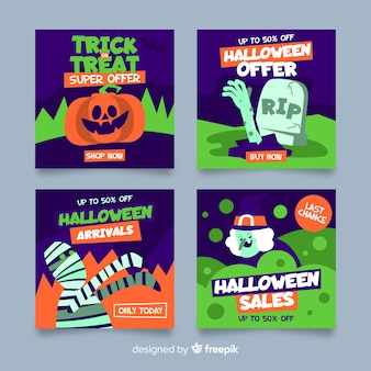 Collezione post di instagram di creature di halloween