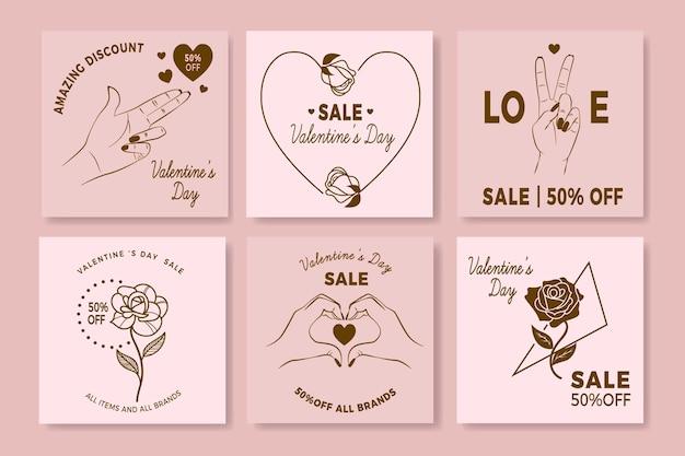 Collezione post di instagram di vendita di san valentino
