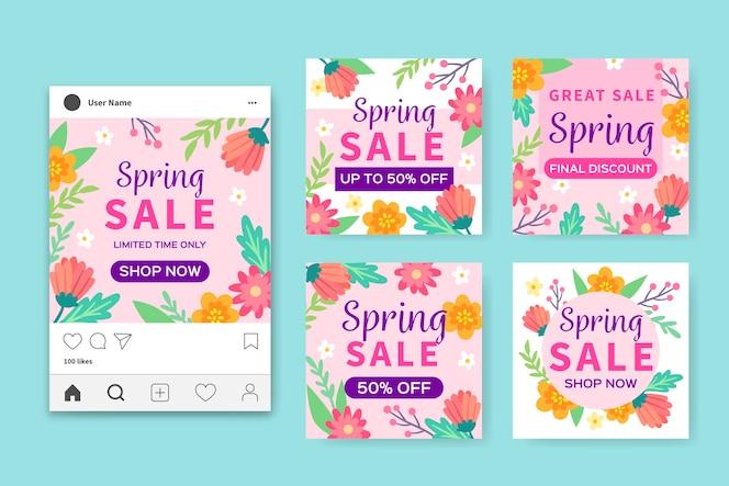Collezione primavera instagrampost concetto di raccolta