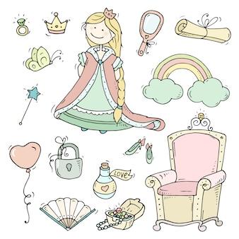 Collezione principessa simpatico cartone animato