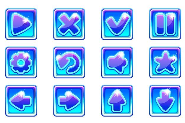 Collezione quadrata blu imposta pulsanti in vetro per ui