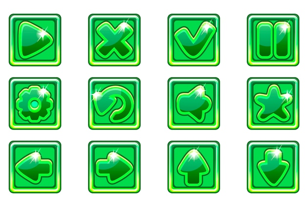 Collezione quadrata verde imposta pulsanti in vetro per ui