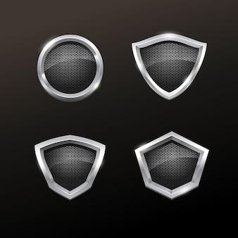 Collezione realistic silver badge