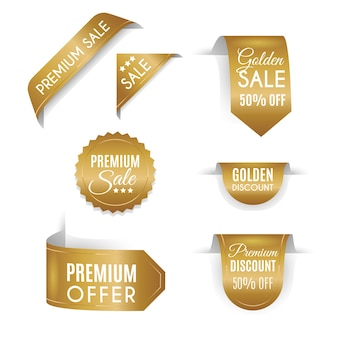 Collezione realistica di badge di vendita