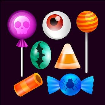 Collezione realistica di caramelle di halloween