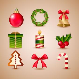 Collezione realistica di elementi natalizi con candela, ghirlanda, regalo.