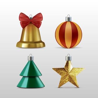 Collezione realistica di elementi natalizi