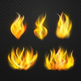 Collezione realistica di fiamme di fuoco