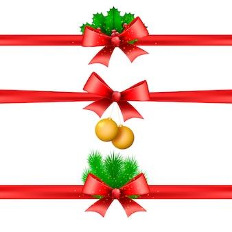 Collezione realistica di nastri natalizi