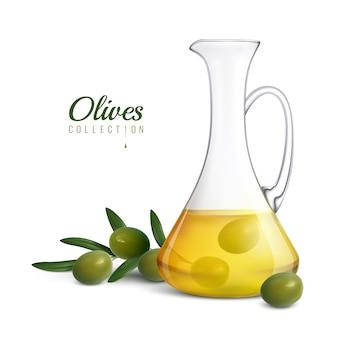 Collezione realistica di olive raccolta con brocca di vetro di olio d'oliva e rametto di albero con olive verdi fresche