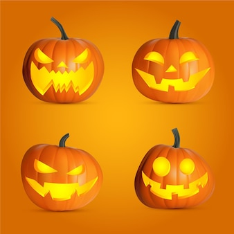 Collezione realistica di zucca di halloween