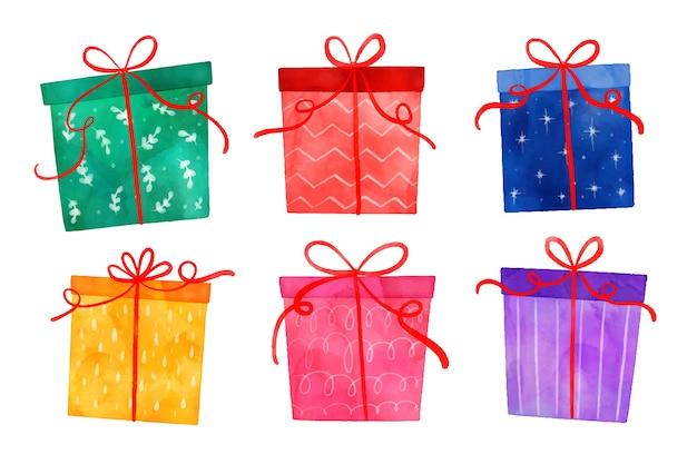 Collezione regalo di natale ad acquerello