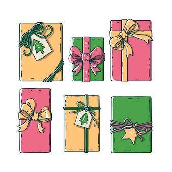 Collezione regalo di natale disegnati a mano