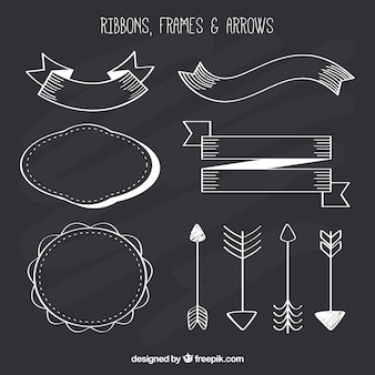 Collezione ribbond, cornici e frecce in stile lavagna
