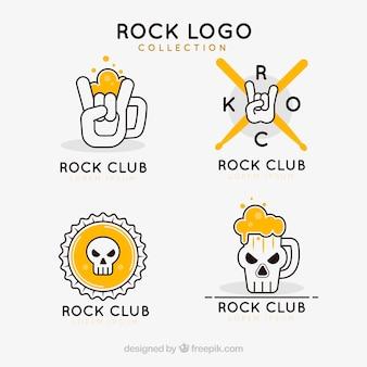 Collezione rock logo con design piatto