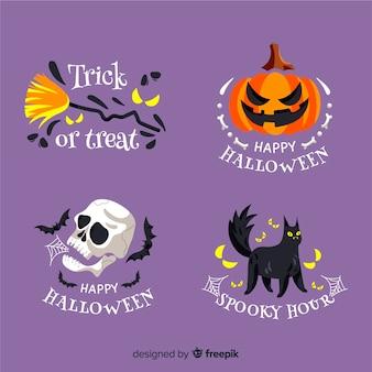 Collezione rotonda di etichette di halloween