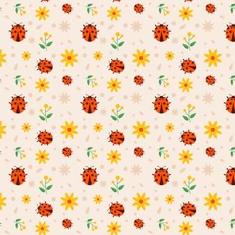 Collezione seamless pattern coccinella