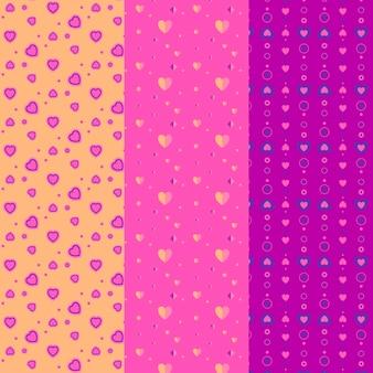 Collezione seamless pattern cuori carino