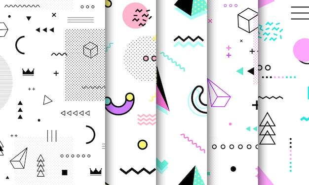 Collezione seamless pattern di memphis.