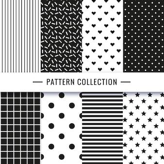 Collezione seamless pattern in bianco e nero