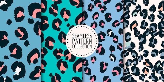 Collezione seamless pattern macchie di leopardo