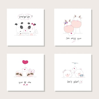 Collezione set animal cartoon animal. cane, giraffa, bradipo. illustrazione disegnata a mano dell'orso