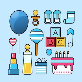 Collezione set di icone baby doccia