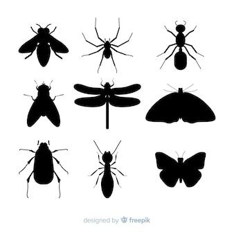 Collezione silhouette di insetti piatto