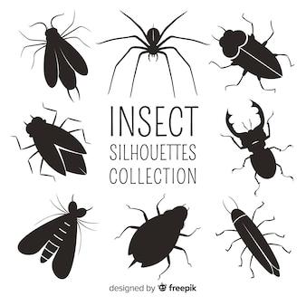 Collezione silhouette di insetti