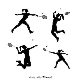 Collezione silhouette giocatore di badminton