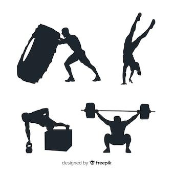 Collezione silhouette nera di allenamento crossfit